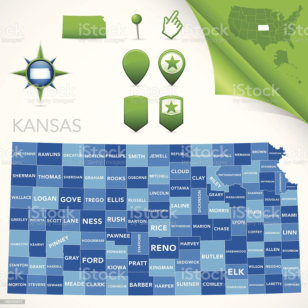 Kansas County Map vector art illustration