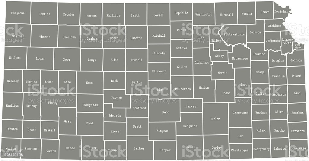 Kansas county map vector outline vector art illustration