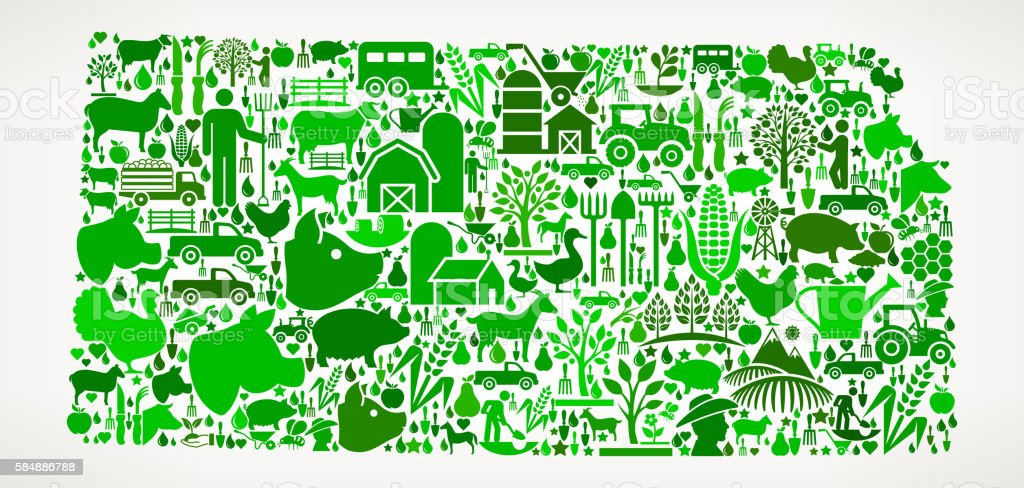 Kansas Farming and Agriculture Green Icon Pattern vector art illustration