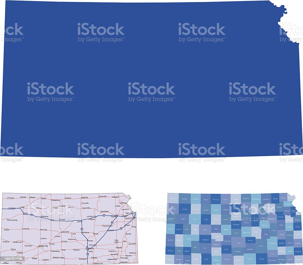 Kansas in solid, roads, and county mapping vector art illustration