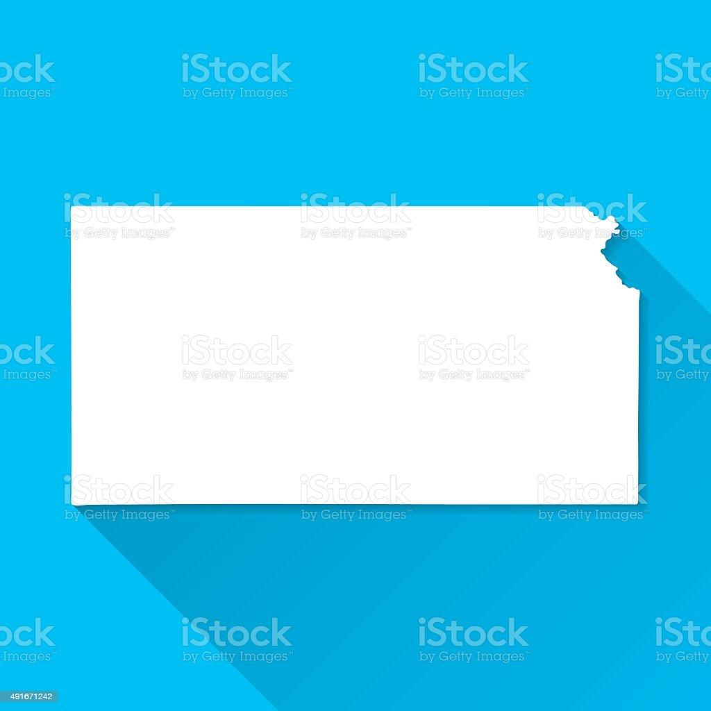 Kansas Map on Blue Background, Long Shadow, Flat Design vector art illustration