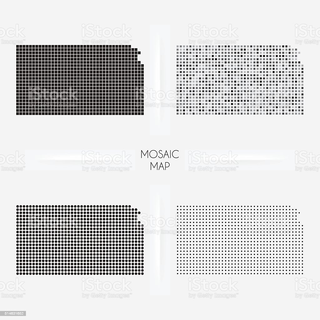 Kansas maps - Mosaic squarred and dotted vector art illustration