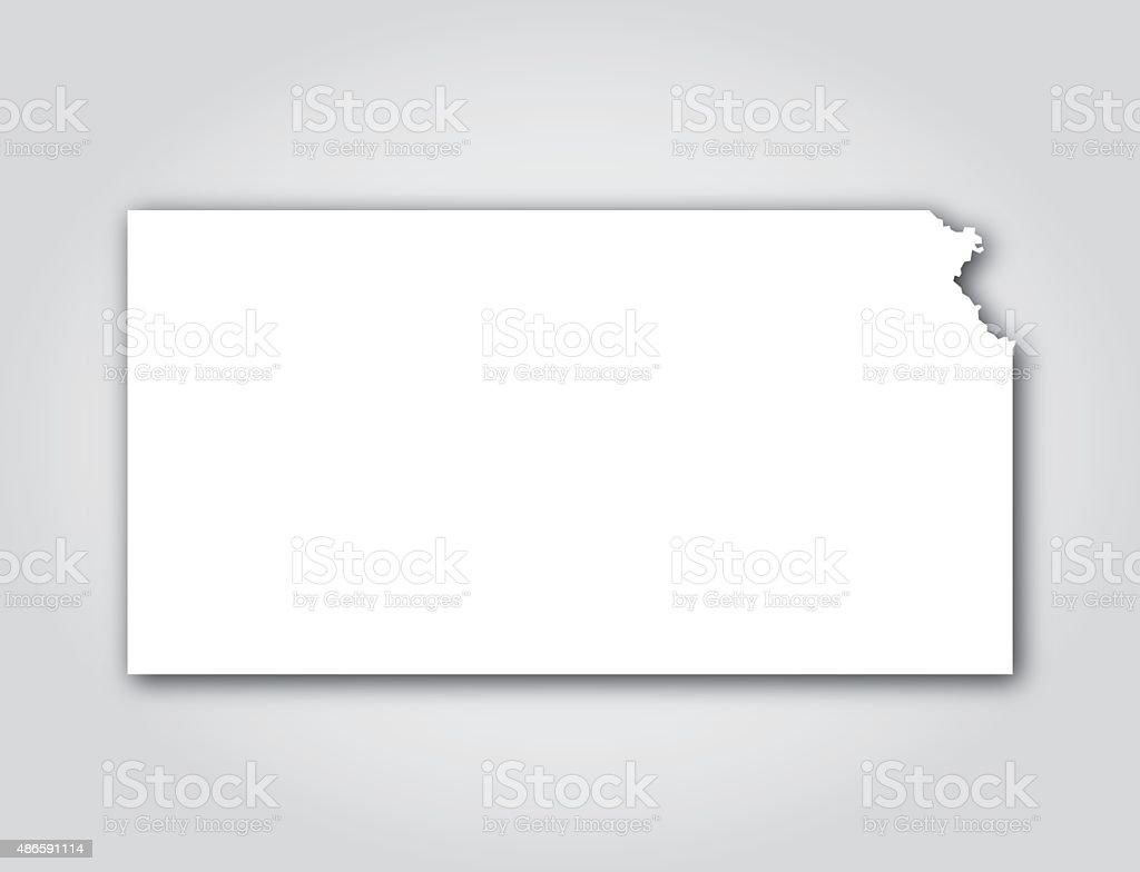 Kansas Silhouette White vector art illustration