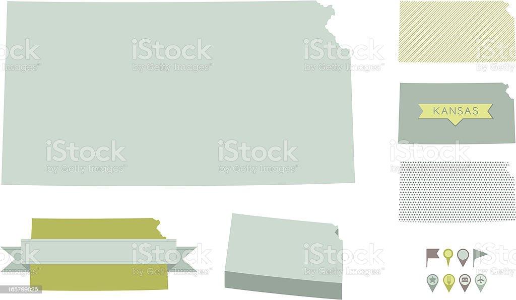 Kansas State Maps vector art illustration