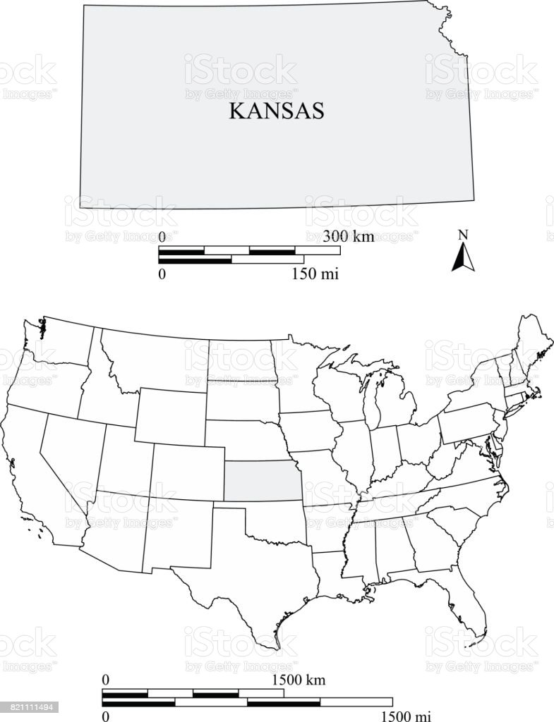 Kansas State Of Usa Map Vector Outlines With Scales Of Miles And - Georgia us state map