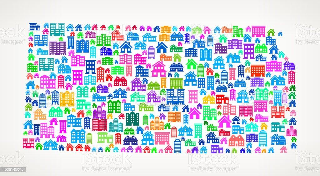 Kansas State Real Estate royalty free vector art Pattern vector art illustration