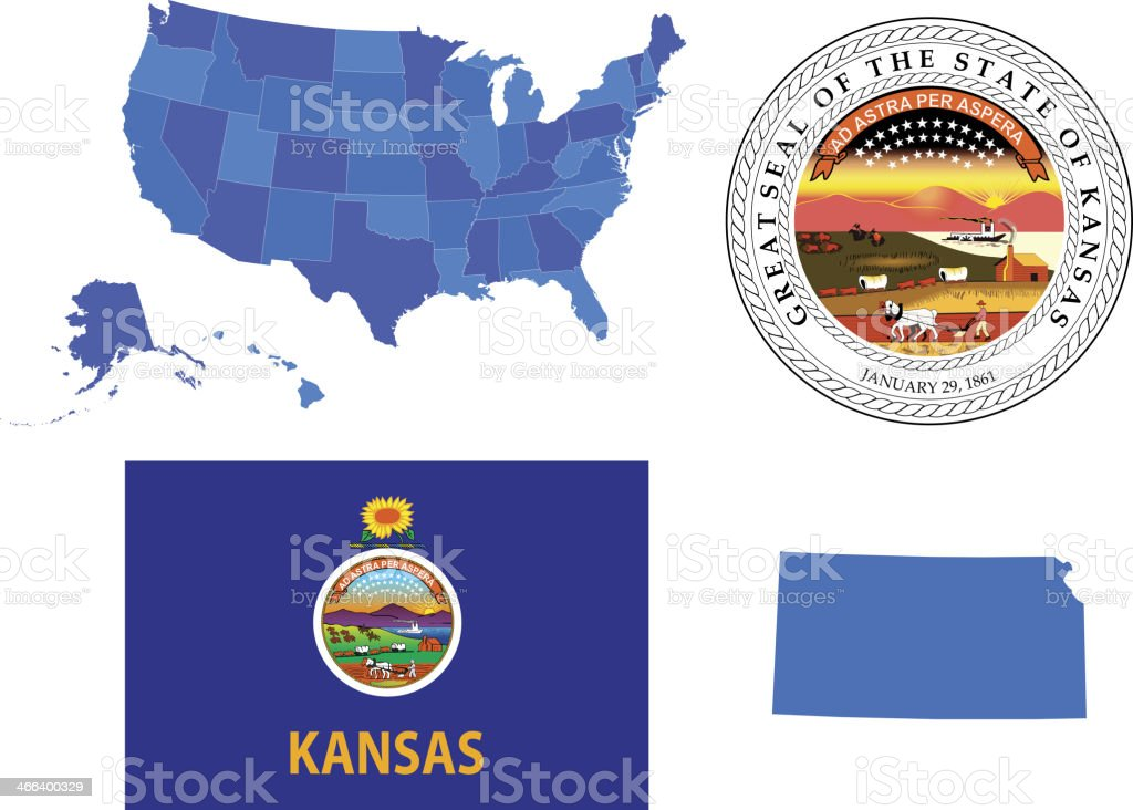 Kansas State Set vector art illustration