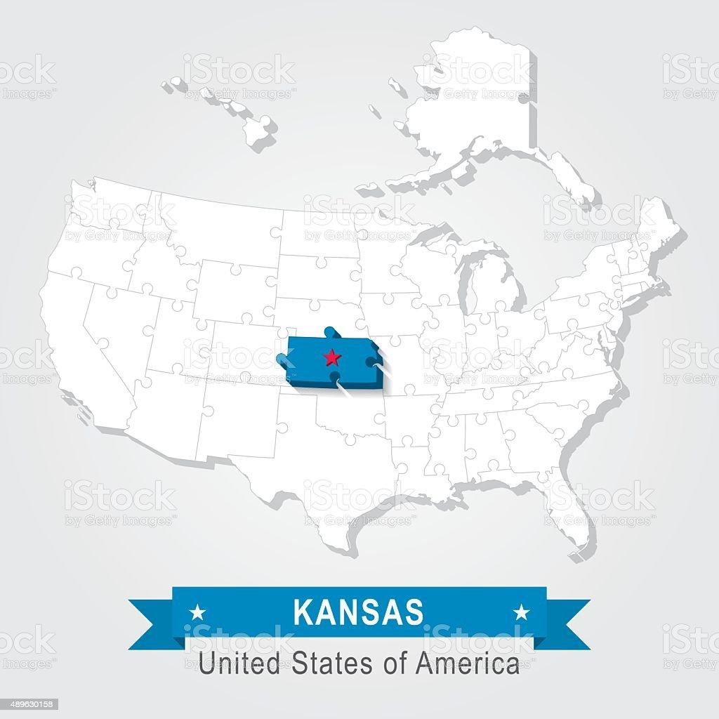Kansas state. USA administrative map. vector art illustration