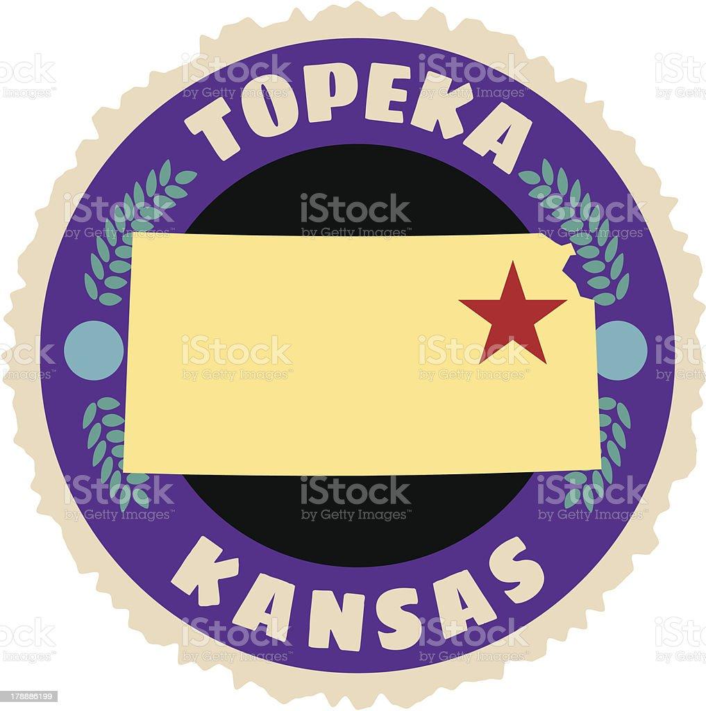 Kansas travel sticker or luggage label vector art illustration