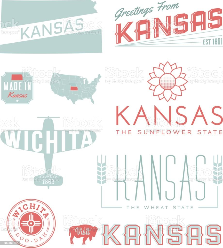 Kansas Typography vector art illustration