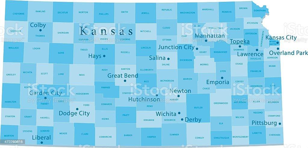 Kansas Vector Map Regions Isolated vector art illustration