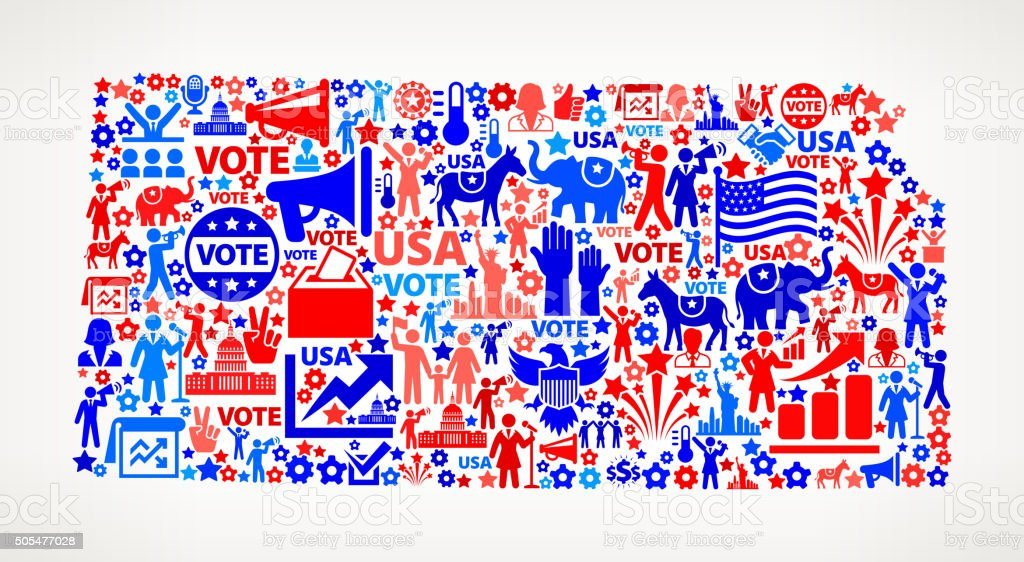 Kansas Vote and Elections USA Patriotic Icon Pattern vector art illustration
