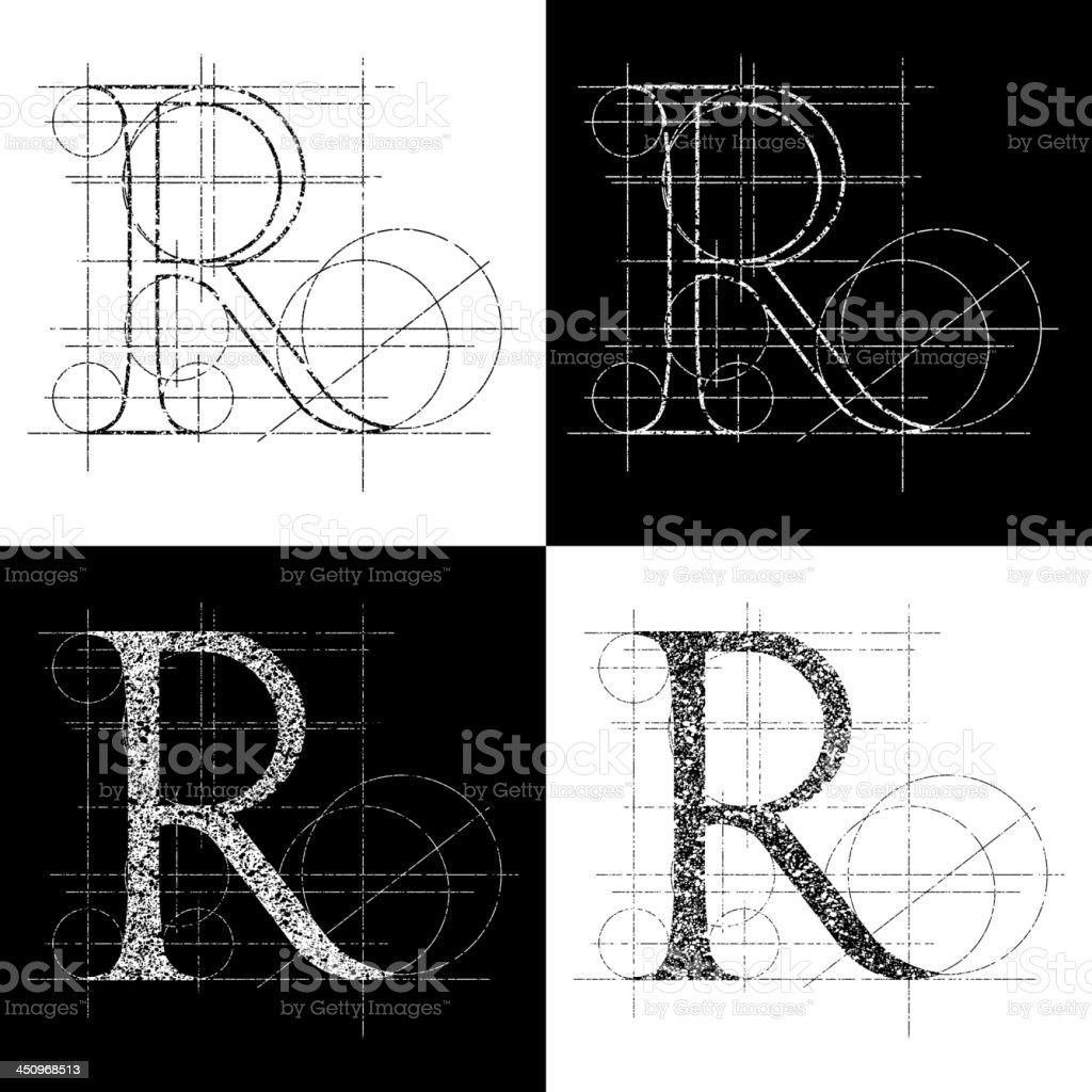 kapitale R royalty-free stock vector art