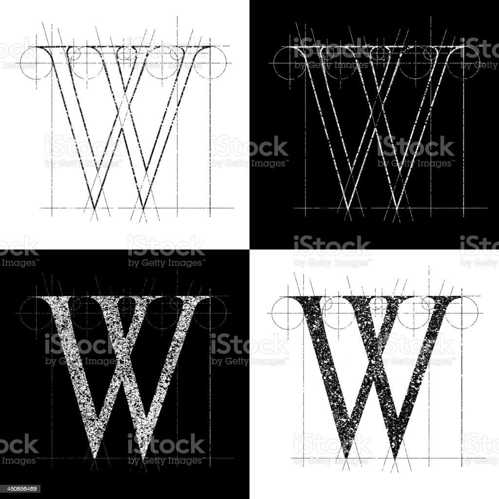 kapitale W royalty-free stock vector art