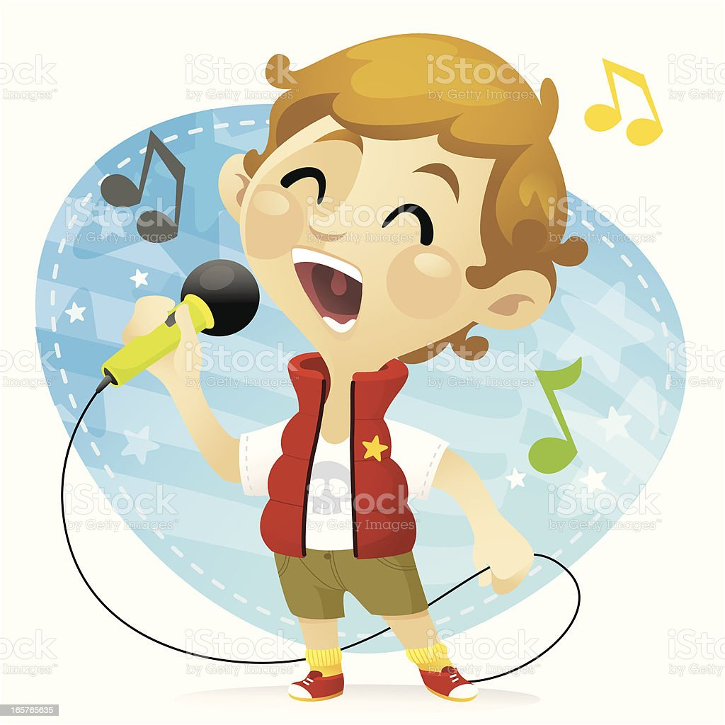 Karaoke Boy vector art illustration