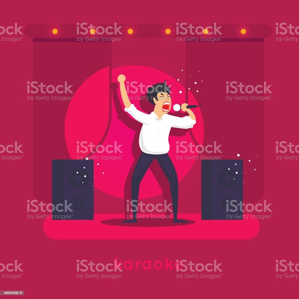 Karaoke. Character design. Flat vector illustration. vector art illustration