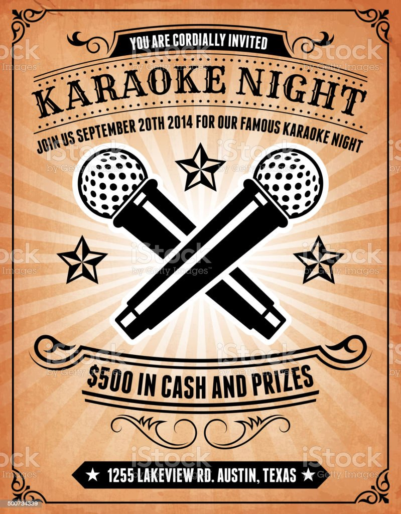 Karaoke Night Invitation on royalty free vector Background Poster vector art illustration