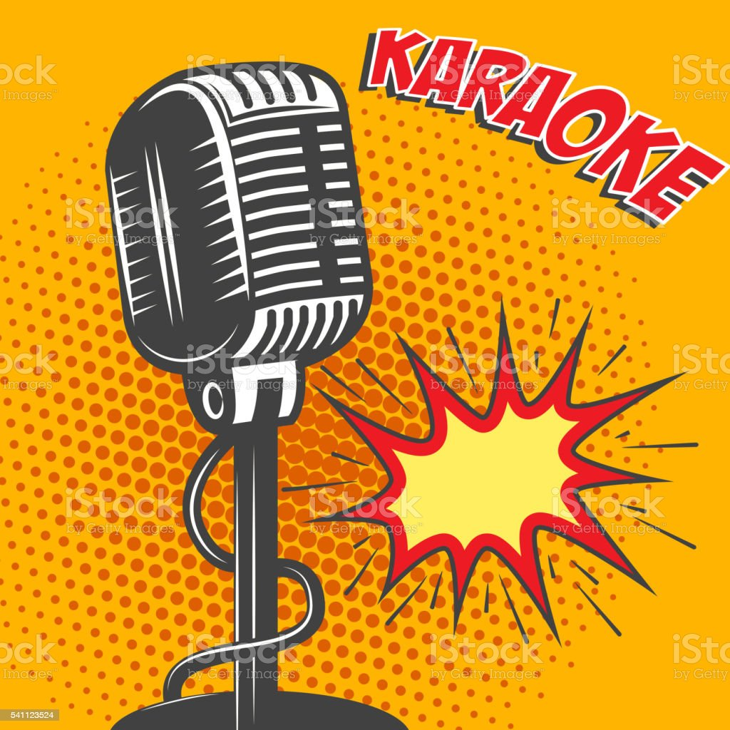 Karaoke. Old style microphone on pop art style background. Vecto vector art illustration