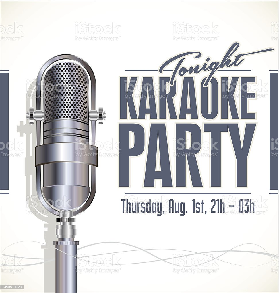 Karaoke party poster vector art illustration