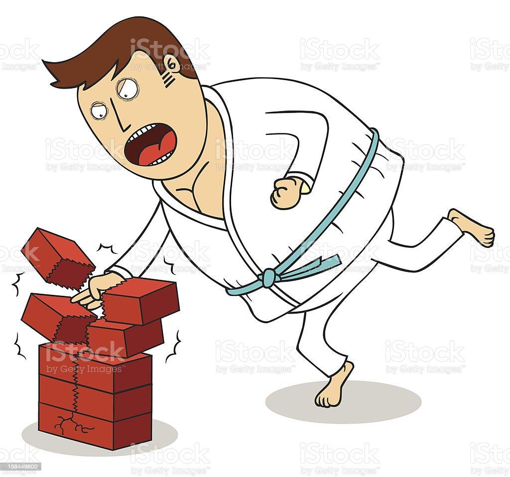 Karate - Breaking bricks royalty-free stock vector art