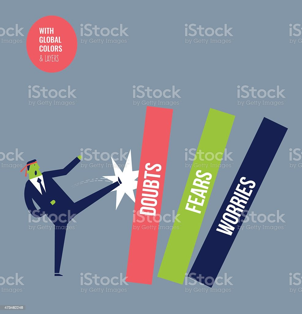 Karate businessman hitting doubts, worries and fears vector art illustration
