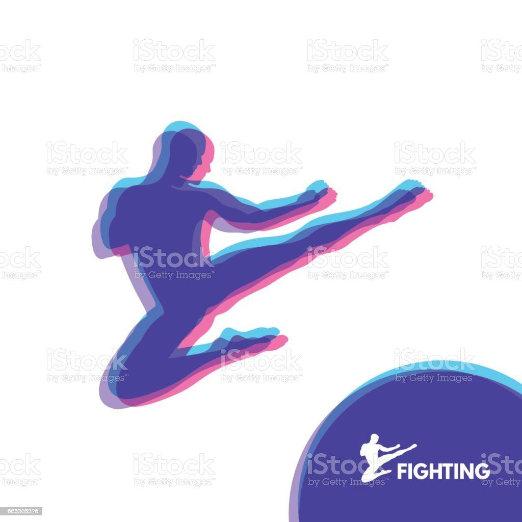 Karate Jump Kick. Fighter. Human Body. Sport Symbol. Design Element. Martial Arts. vector art illustration
