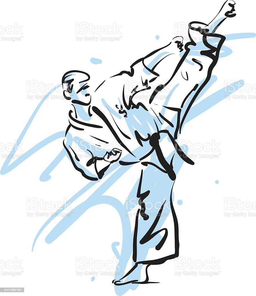 karate kick, vector illustration vector art illustration