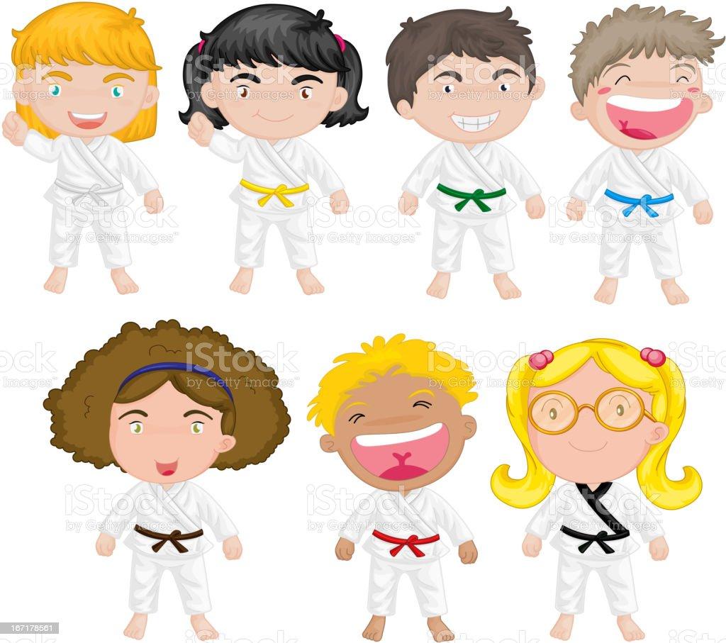Karate kids royalty-free stock vector art