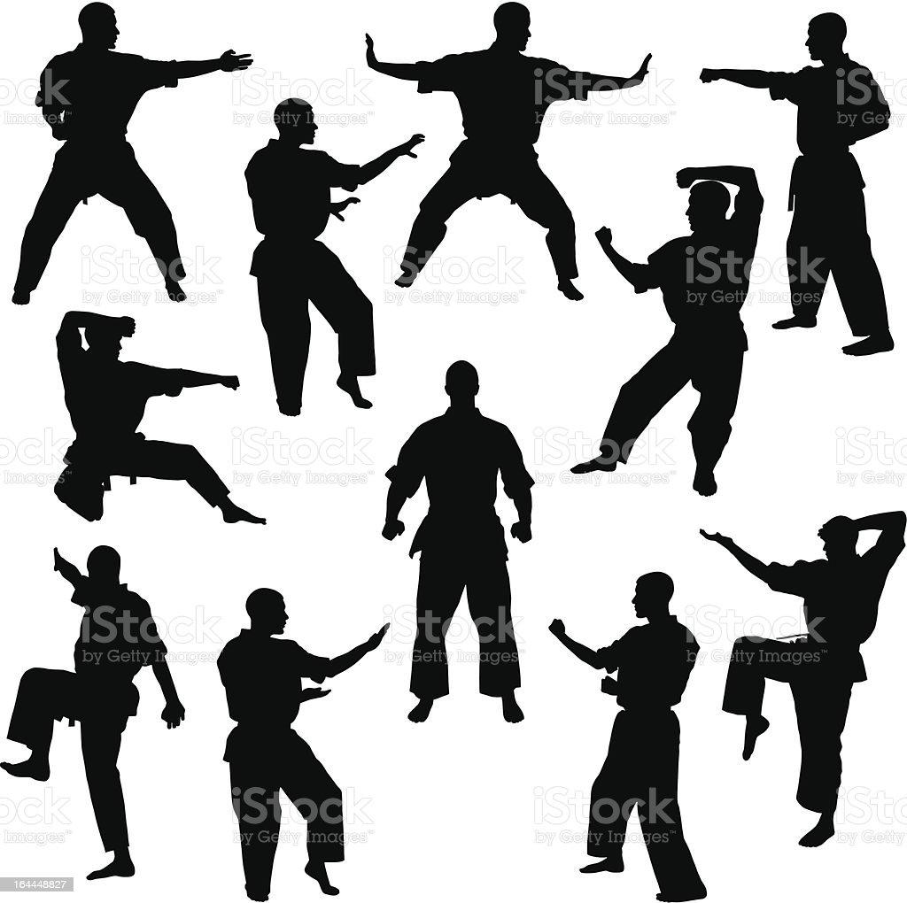 Karate poses for many different men vector art illustration