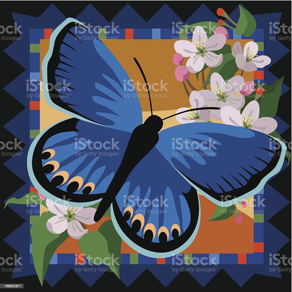 Karner Blue butterfly tile design vector art illustration