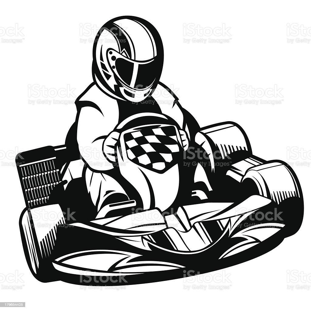 Kart Racing BW vector art illustration