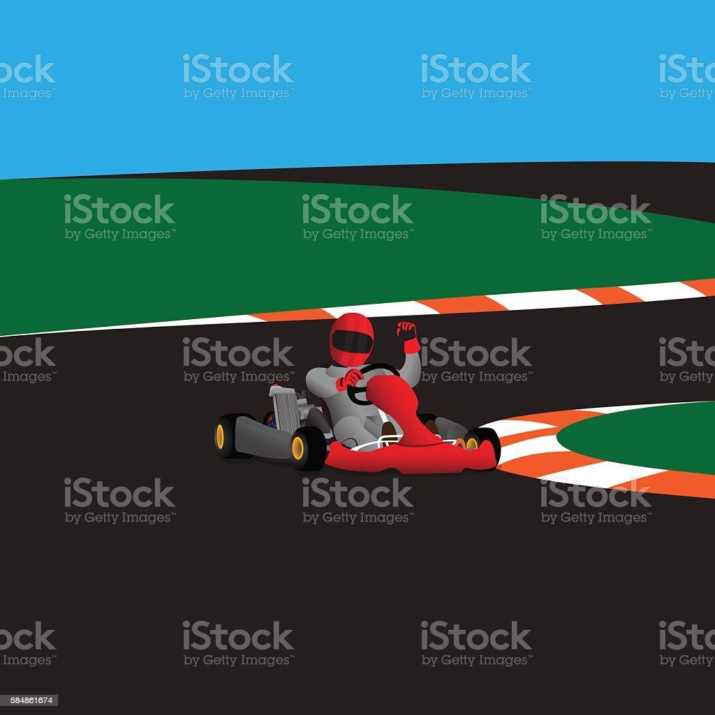 Kart rasing winner vector art illustration