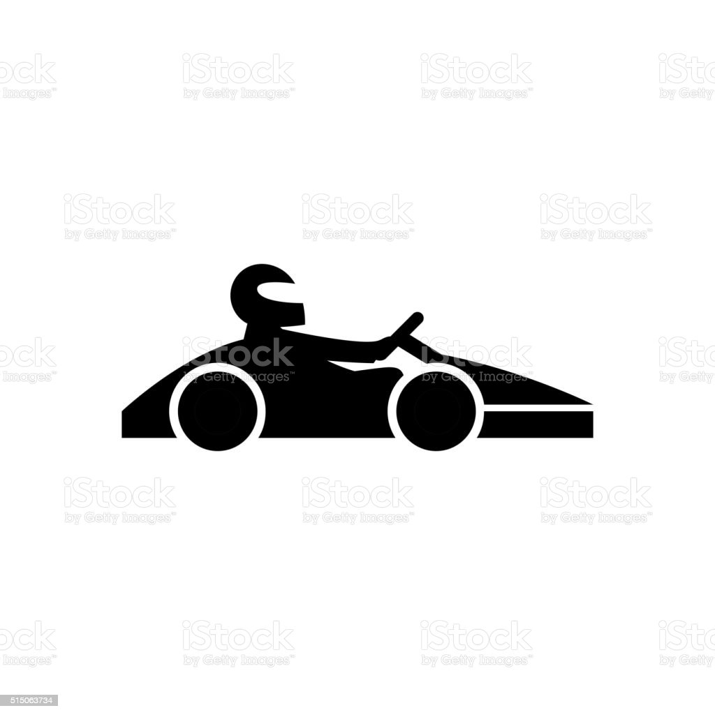 Kart with driver icon vector art illustration