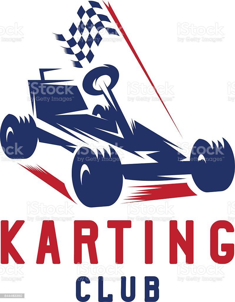 kart with finish flag vector design template vector art illustration