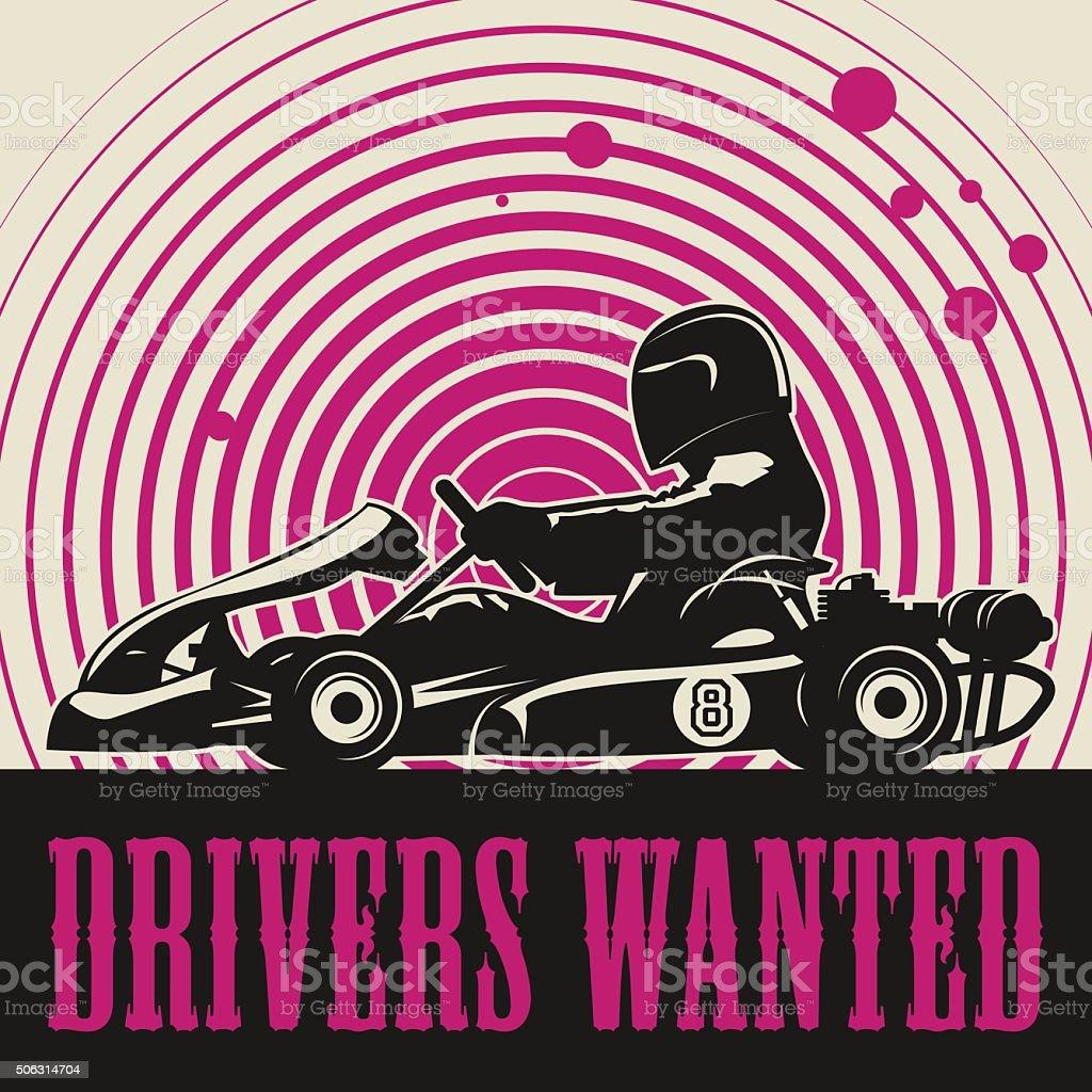 Karting Go Cart race poster vector art illustration