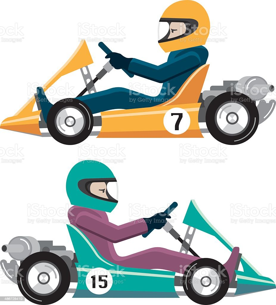 Karting Go Cart race vehicle with a driver vector art illustration
