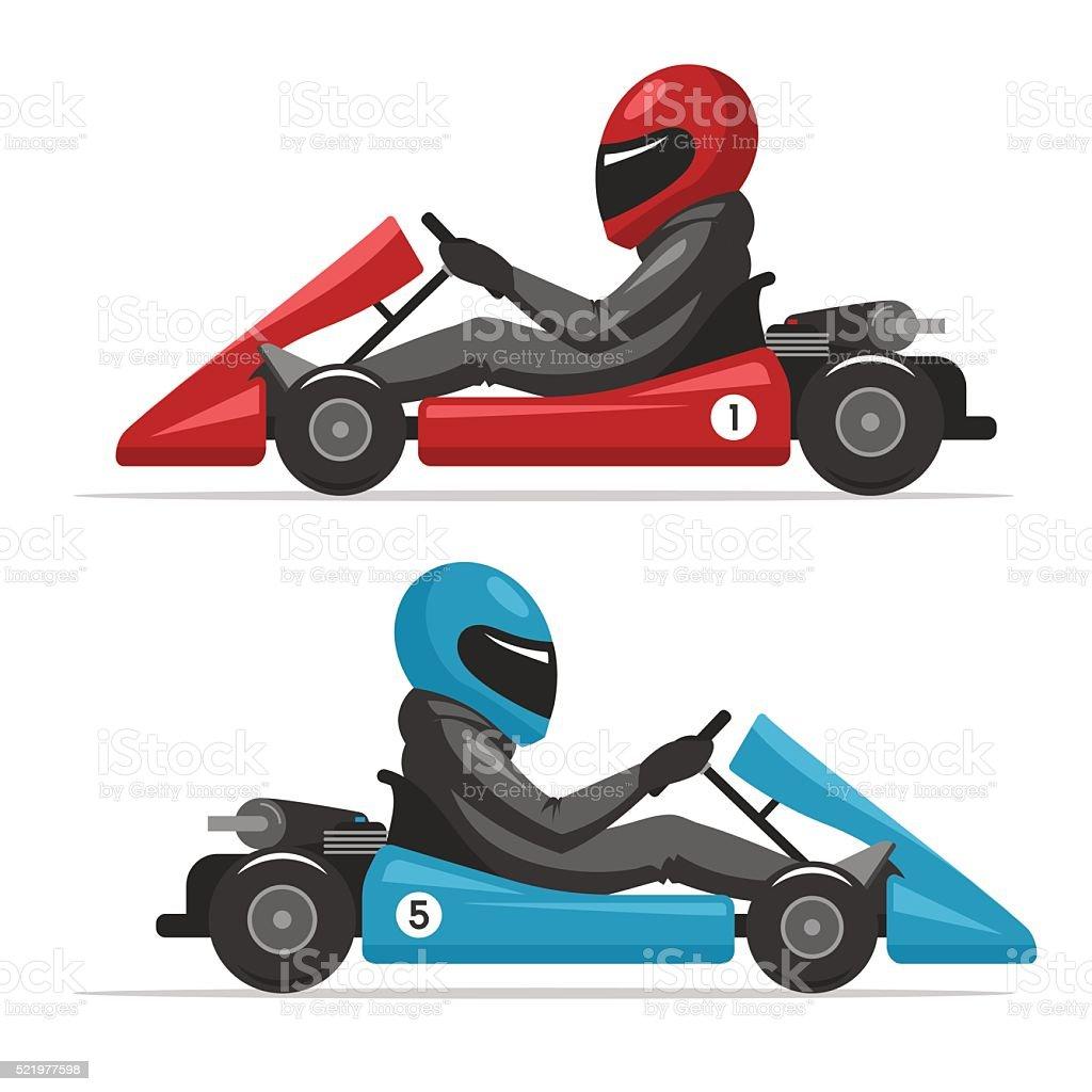 Karting go. Racing on sport kart driver man vector art illustration