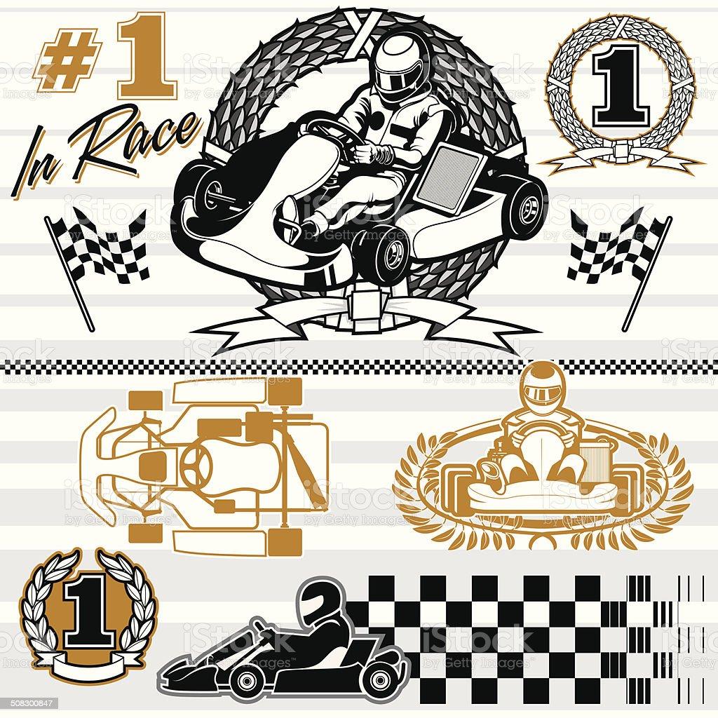 karting race set vector art illustration