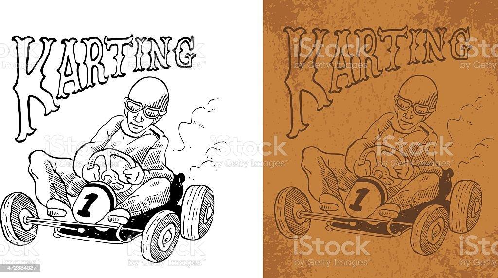 karting vintage vector art illustration