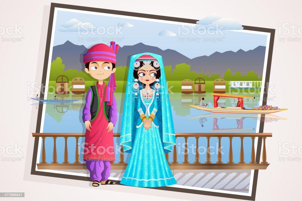 Kashmiri Wedding Couple vector art illustration