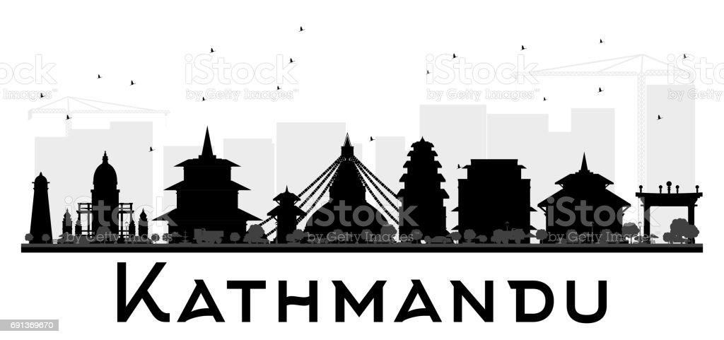 Kathmandu City skyline black and white silhouette. vector art illustration