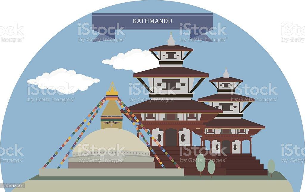 Kathmandu, Nepal vector art illustration