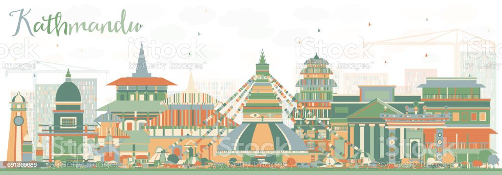 Kathmandu Skyline with Color Buildings. vector art illustration