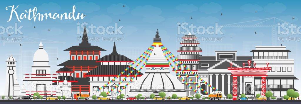 Kathmandu Skyline with Gray Buildings and Blue Sky. vector art illustration