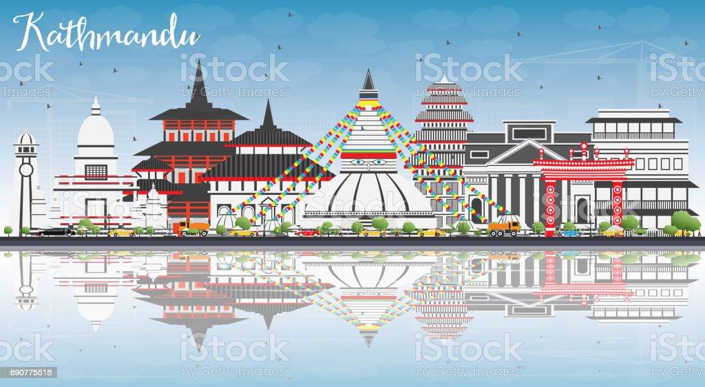 Kathmandu Skyline with Gray Buildings, Blue Sky and Reflections. vector art illustration