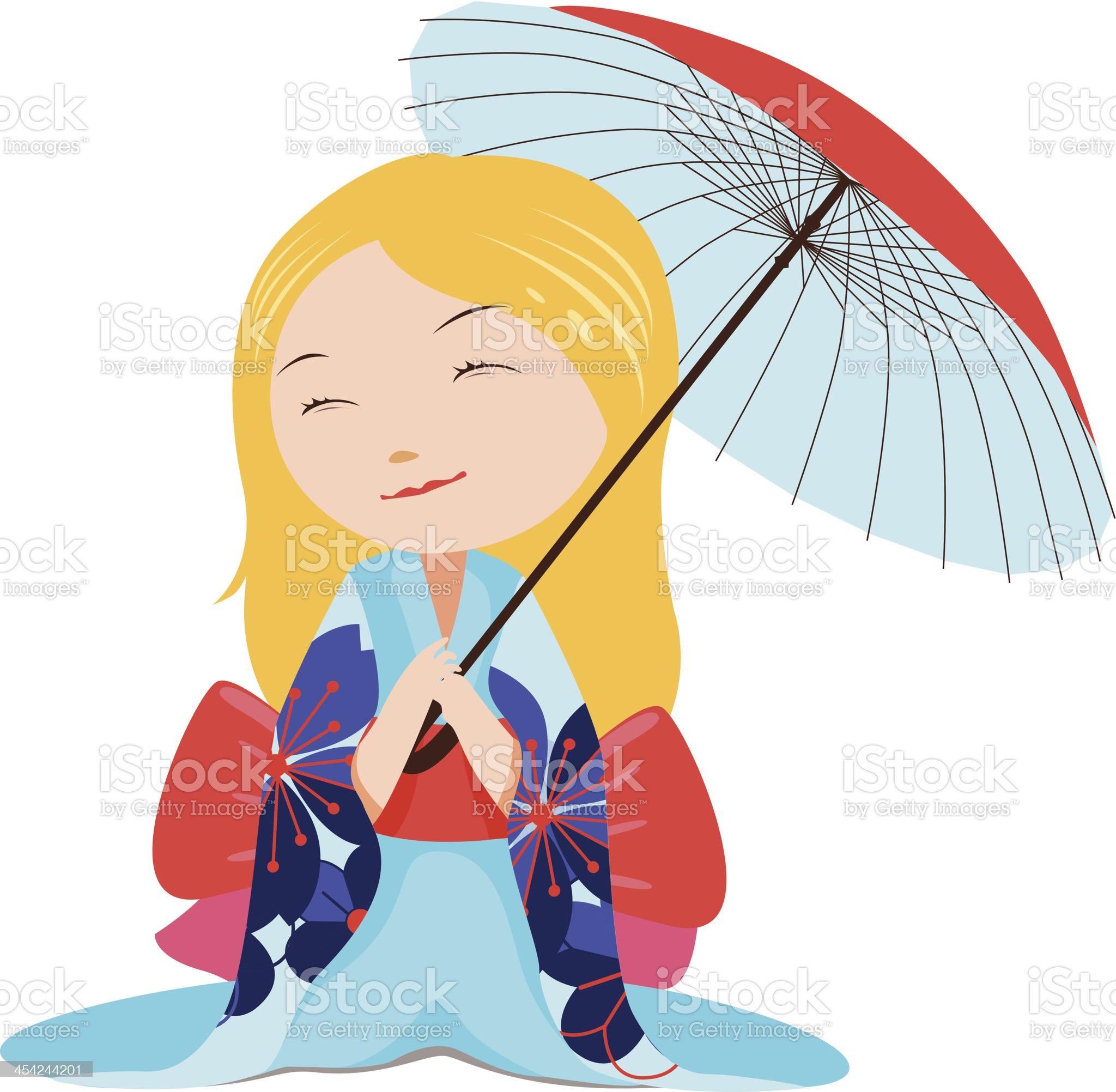 Kawaii blonde girl with red umbrella royalty-free stock vector art