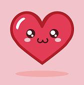 Kawaii Cartoon Heart Icon Vector