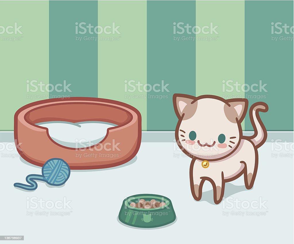 Kawaii cat vector art illustration