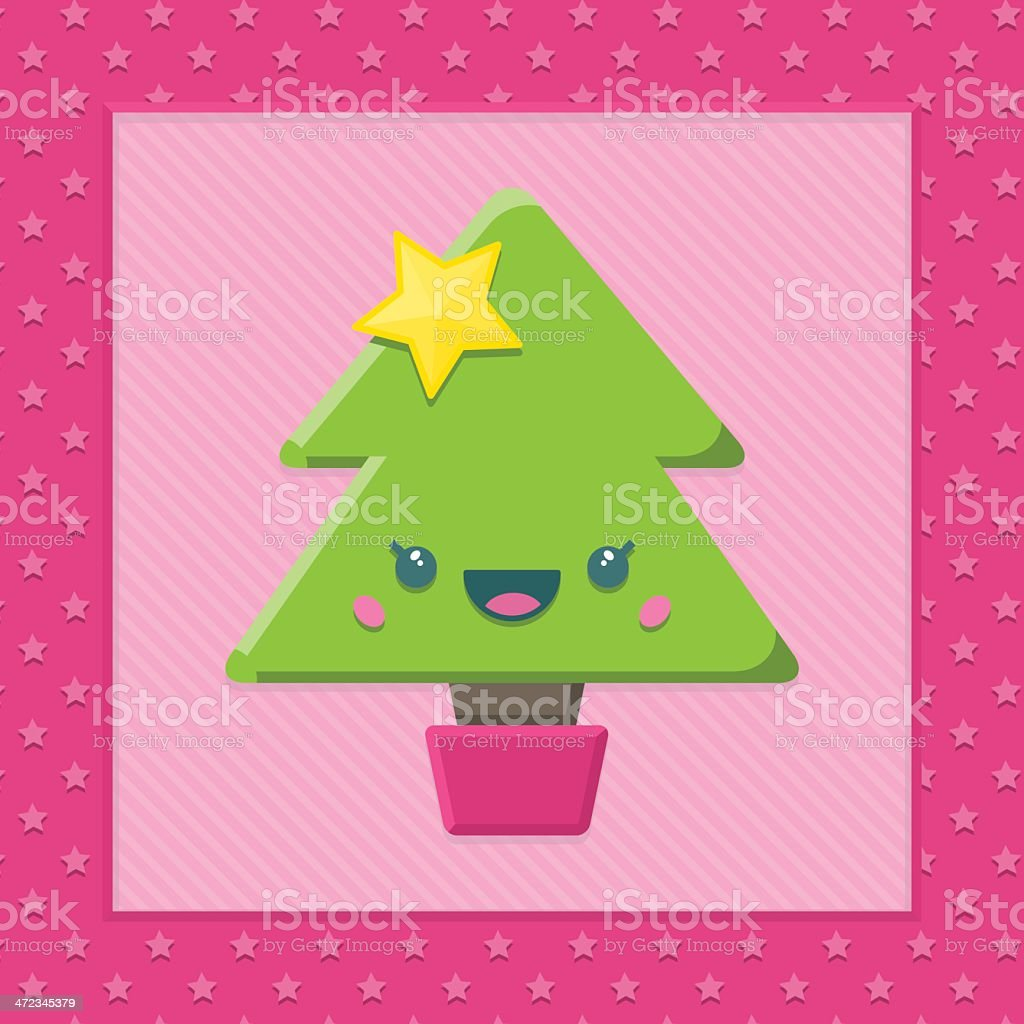Kawaii Christmas Tree royalty-free stock vector art