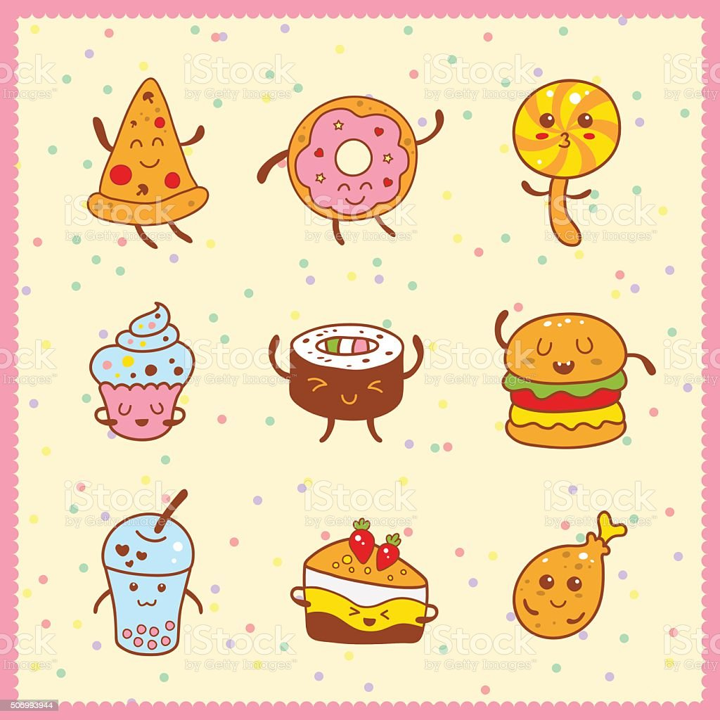 Kawaii collection of sweet and dessert doodle icon vector art illustration